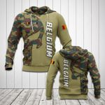 Customize Belgium Flag Skull Camo All Over Print Hoodies