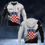 Customize Croatia Coat Of Arms Black And White All Over Print Hoodies