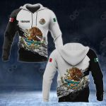 Customize Mexico Coat Of Arms Black And White All Over Print Hoodies
