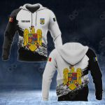 Customize Romania Coat Of Arms Black And White All Over Print Hoodies