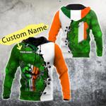 Customize Ireland Shamrock Pattern All Over Print Hoodies