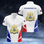 Cambodia Coat Of Arms And Flag - New Version All Over Print Polo Shirt