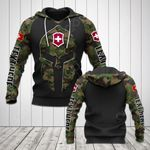 Customize Switzerland Flag Camo Spartan Helmet All Over Print Hoodies