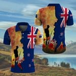 New Zealand  Lest We Forget ANZAC Day Poppy All Over Print Polo Shirt