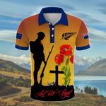 New Zealand Lest We Forget Soldier Sunset All Over Print Polo Shirt
