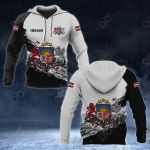 Customize Latvia Coat Of Arms Black And White All Over Print Hoodies