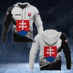 Customize Slovakia Coat Of Arms Black And White All Over Print Hoodies