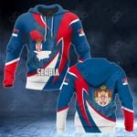 Serbia Coat Of Arms Map Proud Version All Over Print Hoodies