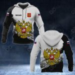 Customize Russia Coat Of Arms Black And White All Over Print Hoodies