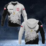 Customize Poland Coat Of Arms Black And White All Over Print Hoodies