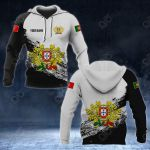 Customize Portugal Coat Of Arms Black And White All Over Print Hoodies