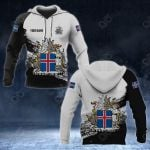 Customize Iceland Coat Of Arms Black And White All Over Print Hoodies