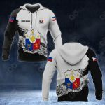 Customize Philippines Coat Of Arms Black And White All Over Print Hoodies