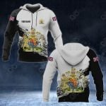 Customize United Kingdom Coat Of Arms Black And White All Over Print Hoodies