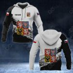 Customize Czech Republic Coat Of Arms Black And White All Over Print Hoodies