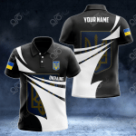 Customize Ukraine Coat Of Arms New Style 3D Print All Over Print Polo Shirt