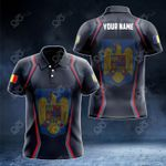 Customize Romania Coat Of Arms Print 3D Special All Over Print Polo Shirt