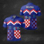 Croatia Coat Of Arms Blue All Over Print Polo Shirt