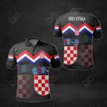 Croatia Flag Black All Over Print Polo Shirt
