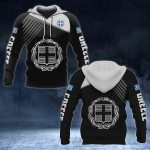 Greece Coat of Arms White - Flag All Over Print Hoodies