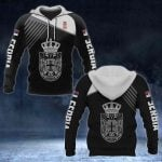 Serbia Coat of Arms White - Flag All Over Print Hoodies