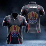 Customize French Polynesia Coat Of Arms Print 3D Special All Over Print Polo Shirt