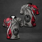 French Polynesia Coat Of Arms Coconut Tree All Over Print Polo Shirt