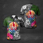 French Polynesia Tahiti Hibiscus All Over Print Polo Shirt