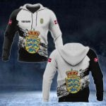 Customize Denmark Coat Of Arms Black And White All Over Print Hoodies