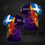 Scotland Coat Of Arms And Flag Thistle All Over Print T-shirt