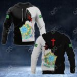 Brazil Coat Of Arms - Jesus All Over Print Hoodies
