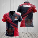 Customize Thailand Proud With Coat Of Arms All Over Print Polo Shirt