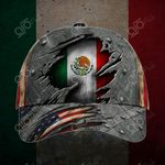 Mexico United States Flags 3D All Over Print Cap