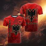 Customize Albania Polygon All Over Print T-shirt