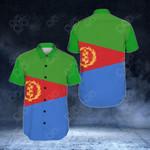 Eritrea Flag Short Sleeve Linen Button Down Shirt