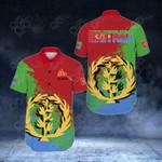 Eritrea Flag Special Short Sleeve Linen Button Down Shirt