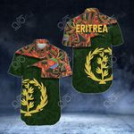 Eritrea Pattern Short Sleeve Linen Button Down Shirt