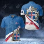 Iceland Flag Coat Of Arms Wavy Lines All Over Print Polo Shirt