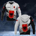 Customize Albania Coat Of Arms Black And White All Over Print Hoodies