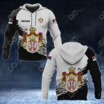 Customize Serbia Coat Of Arms Black And White All Over Print Hoodies