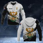 Customize South Africa Coat Of Arms Black And White All Over Print Hoodies