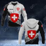 Customize Switzerland Coat Of Arms Black And White All Over Print Hoodies