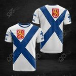 Finland Coat Of Arms And Flag 3D All Over Print T-shirt
