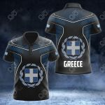 Greece Coat Of Arms Circle Pattern All Over Print Polo Shirt