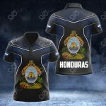 Honduras Coat Of Arms Circle Pattern All Over Print Polo Shirt