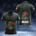 Mexico Coat Of Arms Circle Pattern All Over Print Polo Shirt