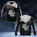 Lithuania Coat Of Arms White - Flag All Over Print Hoodies