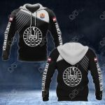French Polynesia Coat Of Arms White - Flag Over Print Hoodies
