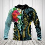 Polynesian Turquoise - Gold Tribal Pattern All Over Print Hoodies