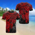 Tonga Polynesian Red Turtle All Over Print T-shirt